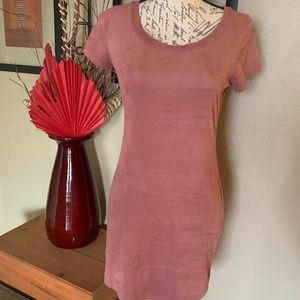 Stretchy Suede like mini dress mauve in color